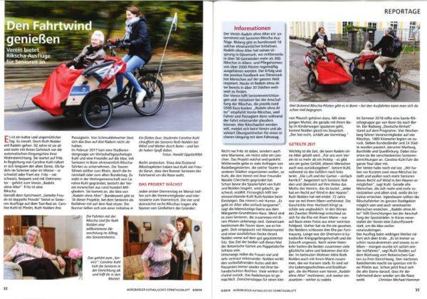 Radeln ohne Alter Bonn_Presse Wuerzburger Katholoisches Sonntagsblatt_06/2019