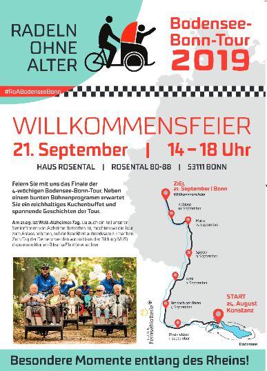 Plakat EInladung Willkommensfest Bodensee Bonn Tour Radeln ohne Alter